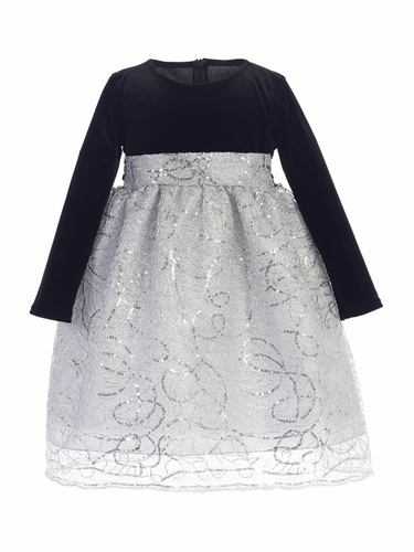 Swea Pea & Lilli C514 Silver Stretch Velvet & Corded Sequins Dress