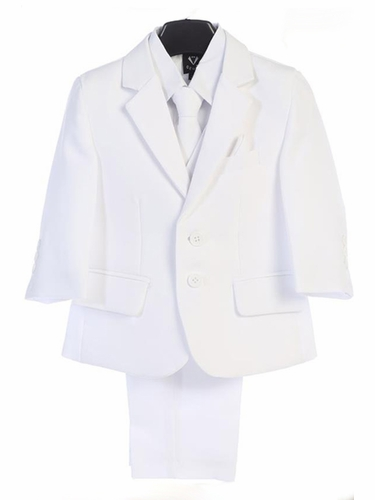 Little Gents 3585 2 Button White Suit