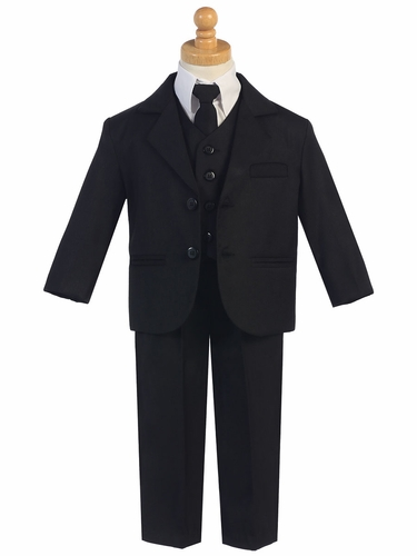Little Gents Black 5 Piece Suit