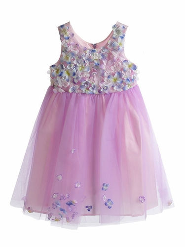 "Little Mass ""Le Pink"" Fleur Bleu Flower Dress"
