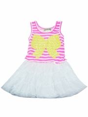 Little Mass Striped Bodice w/ Front Sequin Bow Tutu