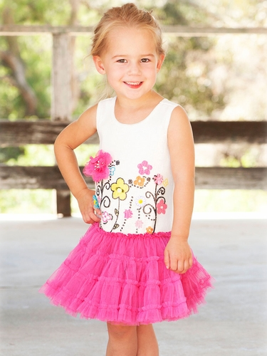 Little Mass White Sequin Bodice w/ Flower Tutu Dress