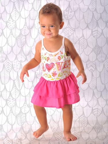Little Wings Cream Pink 'Love' Romper w/ Skirt