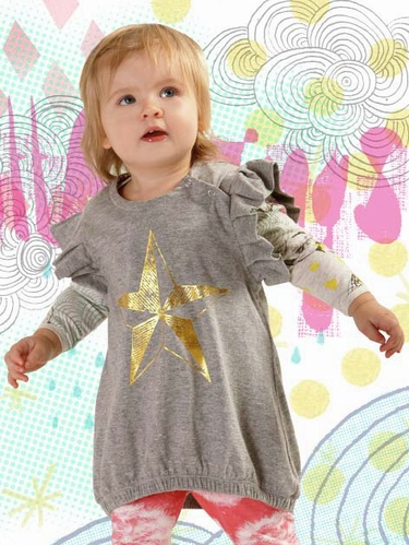 Little Wings Grey Marle / Gold Foil Frilled Pinafore Dress