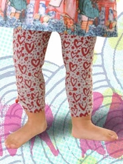 FLASH SALE:  Little Wings Gray Marle / Red Gathered Leggings