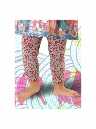 Little Wings Grey Marle / Red Gathered Leggings