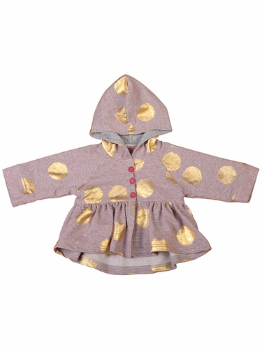 Little Wings Grey Marle / Red / Gold Foil Hooded Fleece Jacket