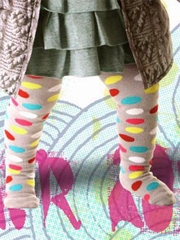 Little Wings Gray/ Multicolor Spotted Tights