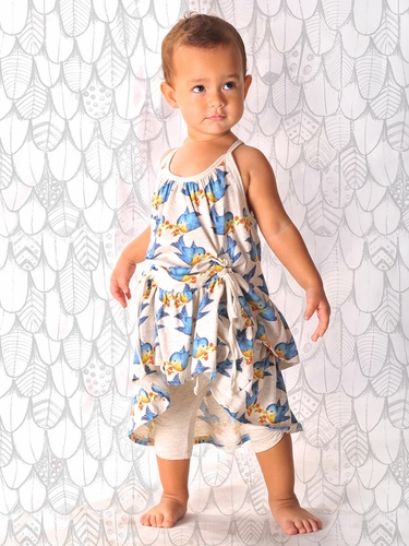 Little Wings Light Grey Marle Bluebirds Drawstring Dress