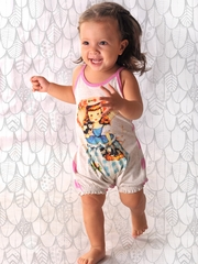 Little Wings Light Gray Marle Kitten Girl Shirred Romper