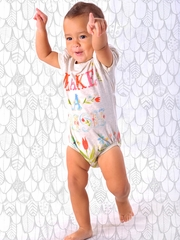 CLEARANCE - Little Wings Light Gray Marle 'Make A Wish' Puff Sleeve Onesie