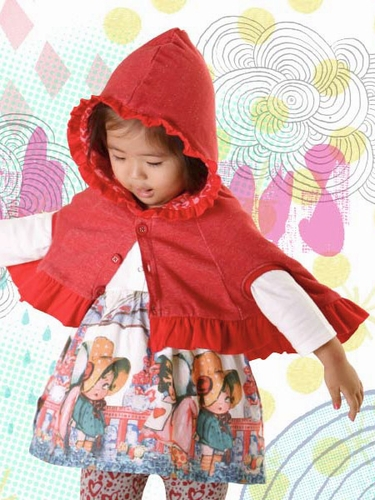 Little Wings Red Marle Hooded Poncho