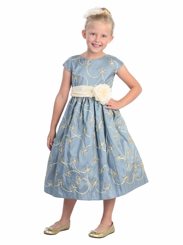 Lt. Blue Metallic Ribbon Embroidered Taffeta, Capp Sleeve Dress
