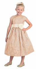Lt. Pink Metallic Ribbon Embroidered Taffeta, Capp Sleeve Dress