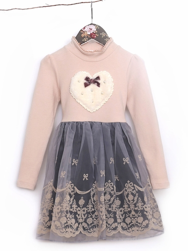 Mae Li Rose Blush & Gray Two Toned Heart Dress