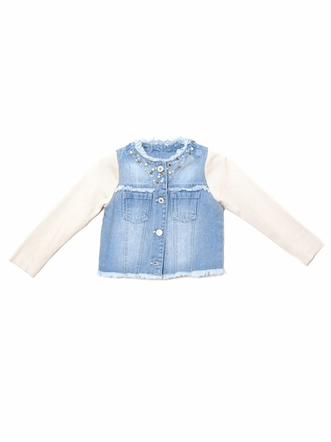 Mae Li Rose Denim Jacket w/ Cream Sleeves & Embellishment