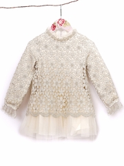 Mae Li Rose Gold & Ivory Metallic Lace Tunic