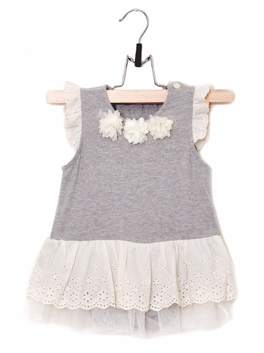 Mae Li Rose Gray Onesie w/ Eyelet Skirt