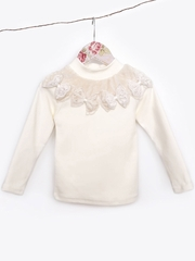 Mae Li Rose Ivory Long Sleeve Furry Bow Top