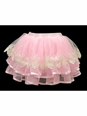 Mae Li Rose Pink Chiffon & Lace Skirt