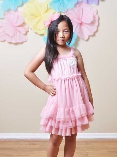 Mae Li Rose Pink Ruffle Dress w/ Flower