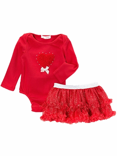 Mae Li Rose Red Heart Onesie & Tutu Set