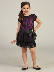 Magenta/Black Holiday Drop Waist Lace Dress
