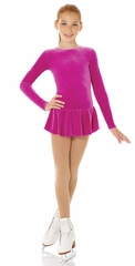 Mondor Magenta Glitter Velvet Long Sleeve Dress