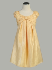 Maize Gather Shift Yoryo Shiny Satin W/ Capped Sleeves Dress
