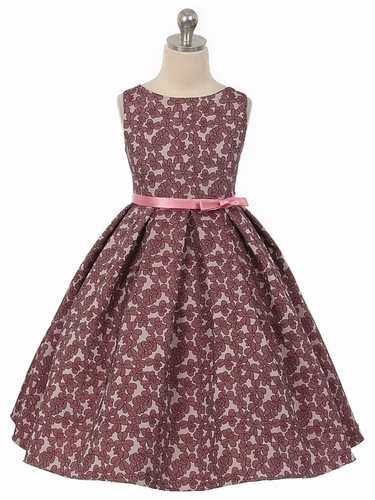 Mauve Floral Jacquard Dress