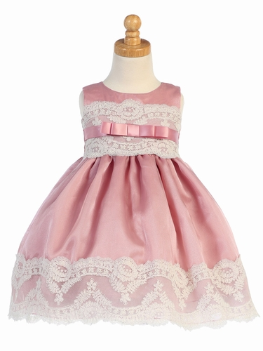 Mauve Organza w/ Embroidered Tulle Lace Trims Dress
