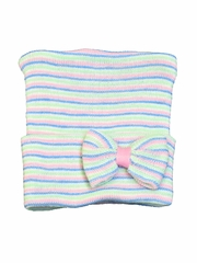 Melondipity Tiny Bow Striped Girl Newborn Hospital Hat