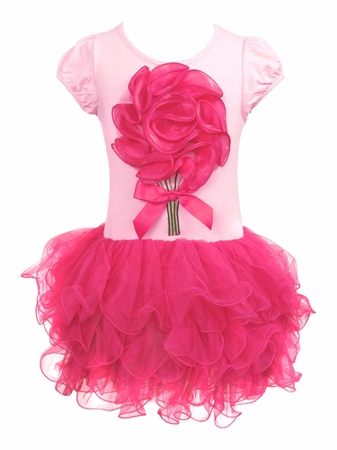 Mia Belle Baby Hot Pink Tutu Dress w/ Flower