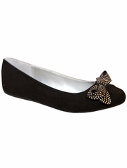 Mia Fashions Holly Black Ballet Flat w/ Crystal Bow