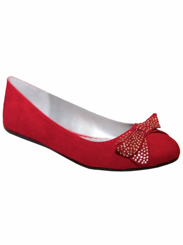 Mia Fashions Holly Red Ballet Flat w/ Crystal Bow