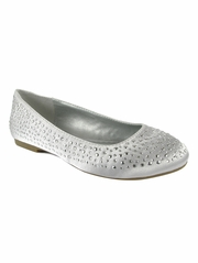 CLEARANCE - Mia Fashions Silver Crystal Ballet Flats