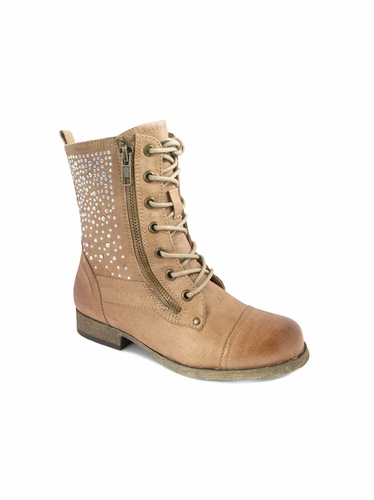 Mia Fashions Tan Courtney Lace Up Boot
