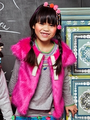"Mim-Pi Fuchsia ""Swedish Fun"" Faux Fur Vest"