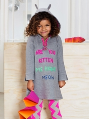Mim-Pi Gray Cat Ears Hooded Kitten Dress
