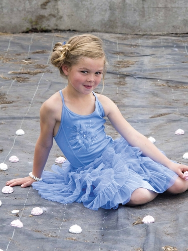 Mim-Pi Light Blue Halter Cross Back Tulle Skirt Dress w/ Sequins & Feather Accents