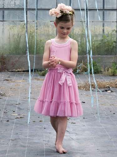 Mim-Pi Light Pink Scoop Tulle Dress w/ Sequin Accents