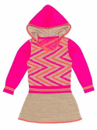 Mim-Pi Neon Paint Hooded Sweater Dress