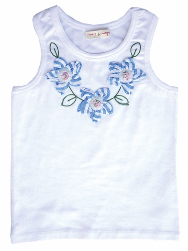 Mimi & Maggie Beach House Chambray Stripe Collection Flower Tank