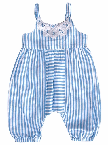 Mimi & Maggie Beach House Chambray Stripe Collection Victorian Romper