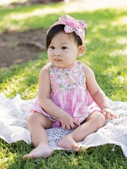 Mimi & Maggie Beach House Collection Babies Pink Song Bird Bubble Romper