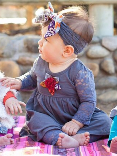 CLEARANCE - Mimi & Maggie Craft Market Babies Collection Lacey Day w/ Handmade Flower 2 PC Set