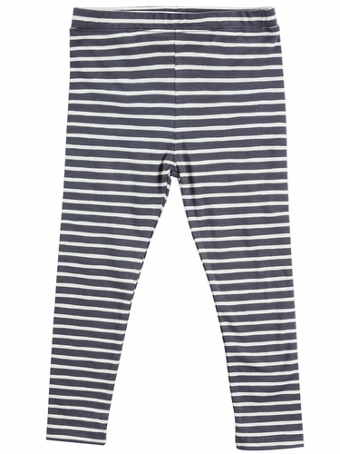 Mimi & Maggie Dark Gray Tranquil Garden Happy Stripe Legging