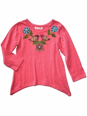 Mimi & Maggie 'Friendly Birds' Cascade Side Knit Top Pink