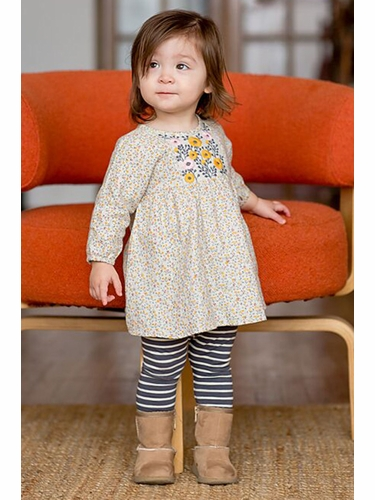 Mimi & Maggie Gray Small Flowers Alicia Dress & Leggings