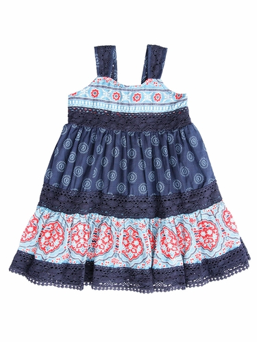 Mimi & Maggie Indigo Beach Collection Summer Picnic Dress